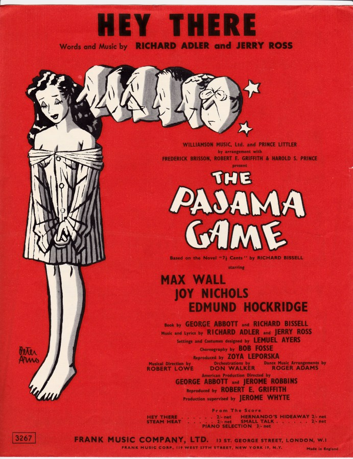 Vintage sheet music cover Hey There (The Pajama Game)