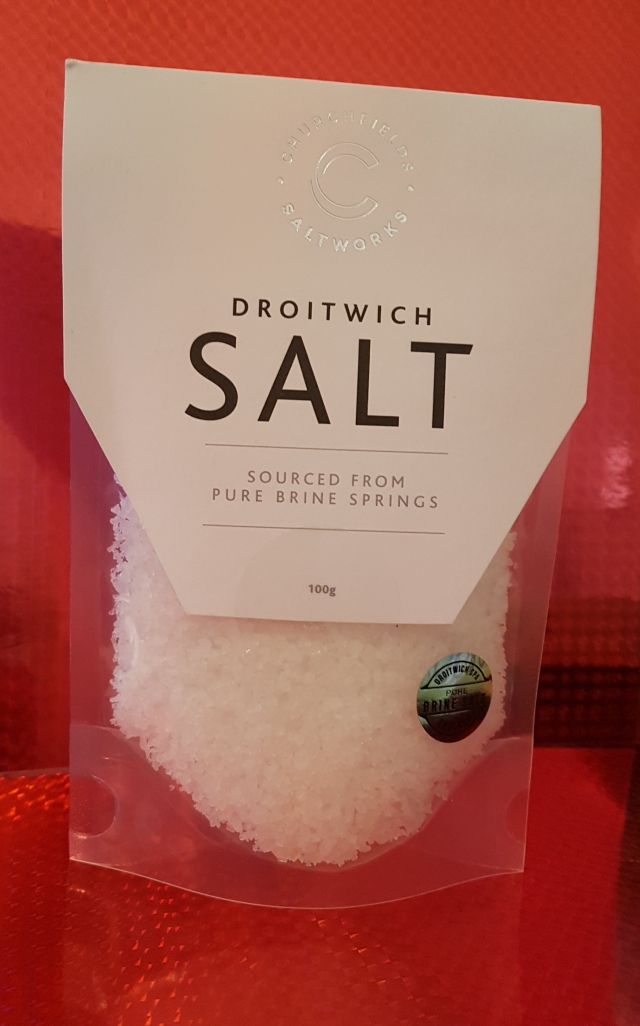 Bag of Droitwich salt, sourced from local brine springs.